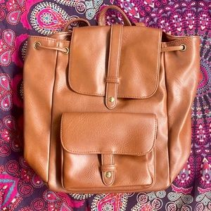EUC Large Brown Backpack Vegan Leather GH Bass Co